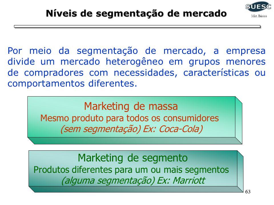 63 Níveis de segmentação de mercado Por meio da segmentação de mercado, a empresa divide um mercado heterogêneo em grupos menores de compradores com n