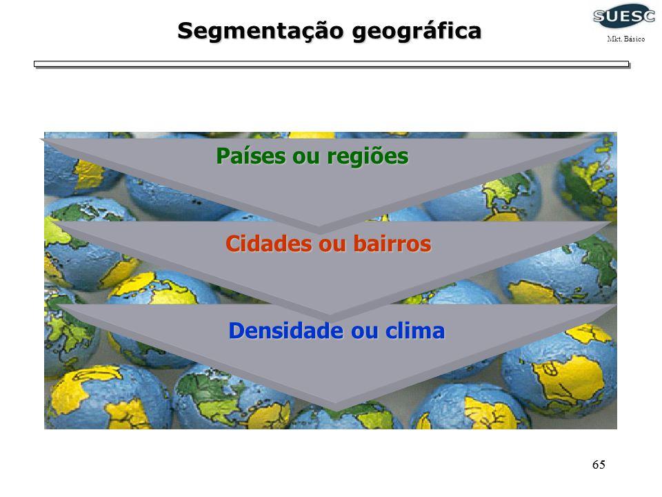 65 Densidade ou clima Densidade ou clima Cidades ou bairros Países ou regiões Segmentação geográfica Mkt. Básico