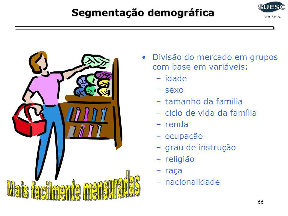 66 Segmentação demográfica Divisão do mercado em grupos com base em variáveis: –idade –sexo –tamanho da família –ciclo de vida da família –renda –ocup