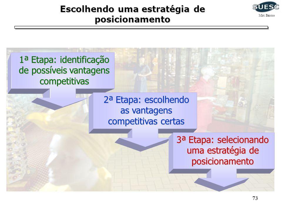 73 1ª Etapa: identificação de possíveis vantagens competitivas 2ª Etapa: escolhendo as vantagens competitivas certas 3ª Etapa: selecionando uma estrat