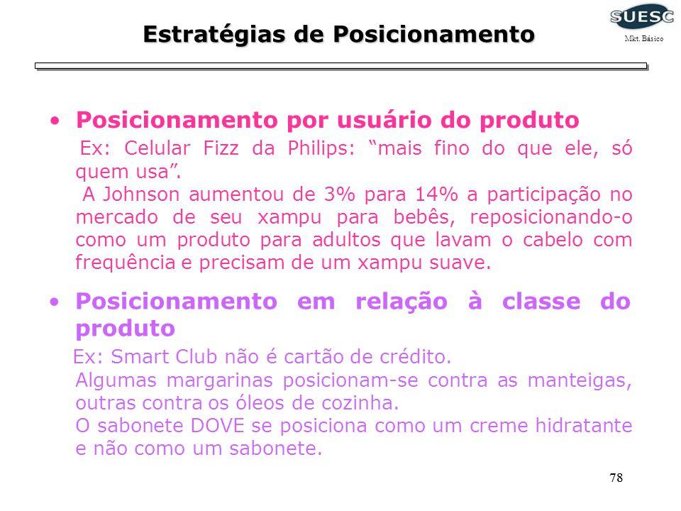 78 Estratégias de Posicionamento Posicionamento por usuário do produto Ex: Celular Fizz da Philips: mais fino do que ele, só quem usa. A Johnson aumen