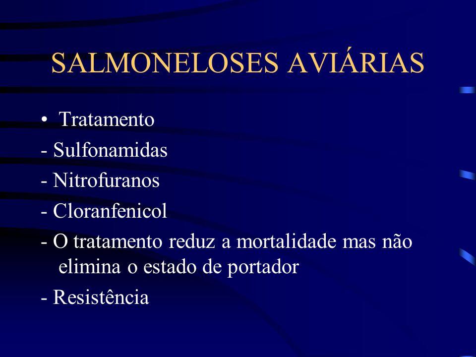 SALMONELOSES AVIÁRIAS Tratamento - Sulfonamidas - Nitrofuranos - Cloranfenicol - O tratamento reduz a mortalidade mas não elimina o estado de portador - Resistência