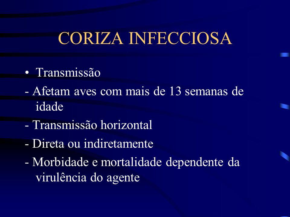 Transmissão - Afetam aves com mais de 13 semanas de idade - Transmissão horizontal - Direta ou indiretamente - Morbidade e mortalidade dependente da virulência do agente