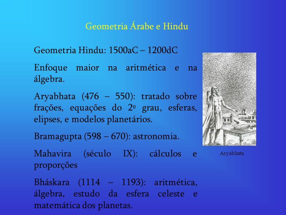 Geometria Árabe e Hindu Geometria Hindu: 1500aC – 1200dC Enfoque maior na aritmética e na álgebra. Aryabhata (476 – 550): tratado sobre frações, equaç