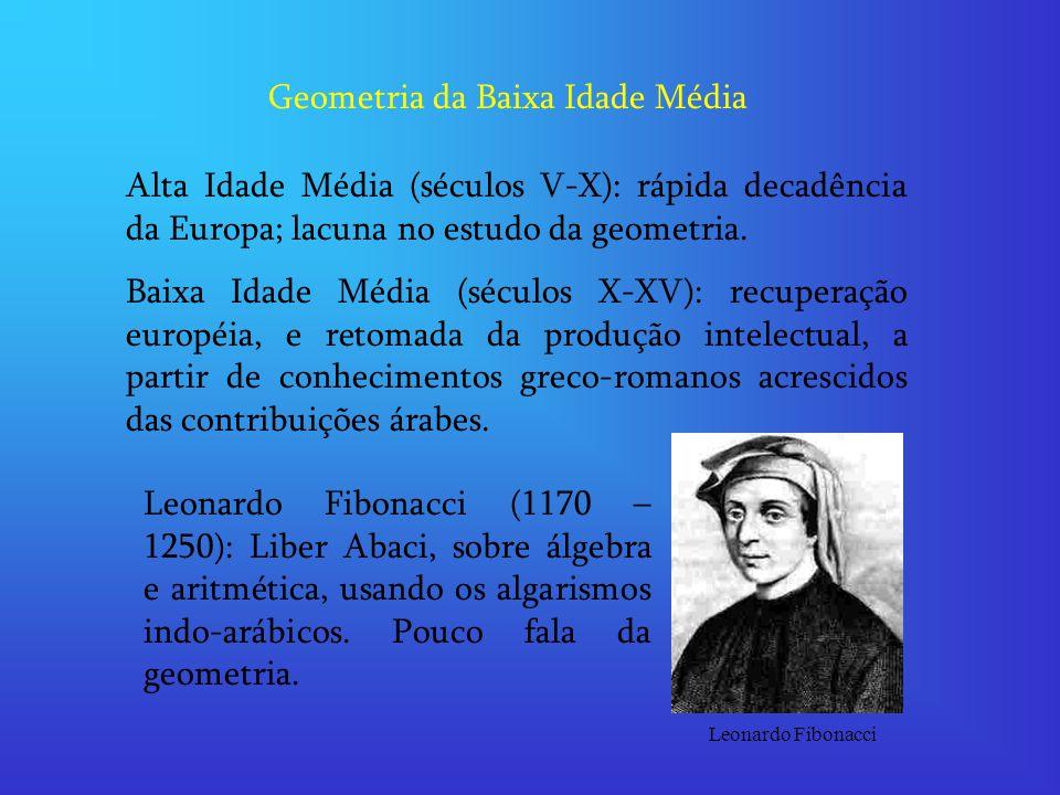 Geometria da Baixa Idade Média Alta Idade Média (séculos V-X): rápida decadência da Europa; lacuna no estudo da geometria. Baixa Idade Média (séculos