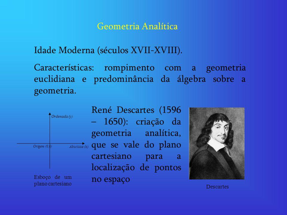 Geometria Analítica Idade Moderna (séculos XVII-XVIII). Características: rompimento com a geometria euclidiana e predominância da álgebra sobre a geom