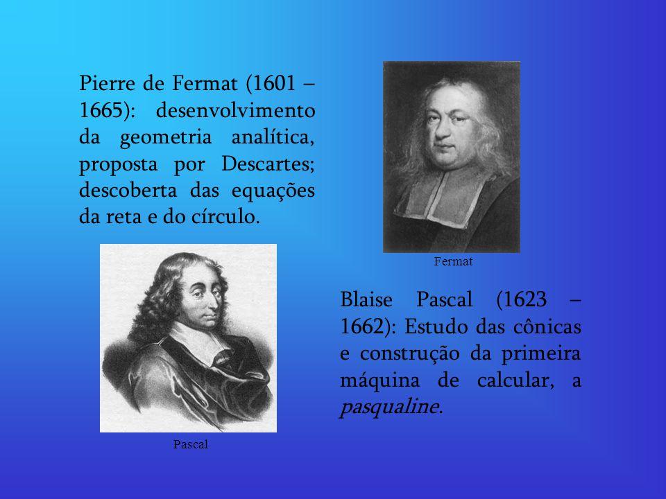 Pierre de Fermat (1601 – 1665): desenvolvimento da geometria analítica, proposta por Descartes; descoberta das equações da reta e do círculo.