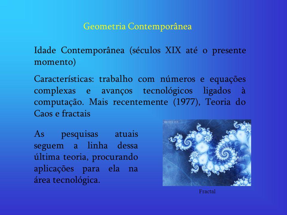 Geometria Contemporânea Idade Contemporânea (séculos XIX até o presente momento) Características: trabalho com números e equações complexas e avanços tecnológicos ligados à computação.