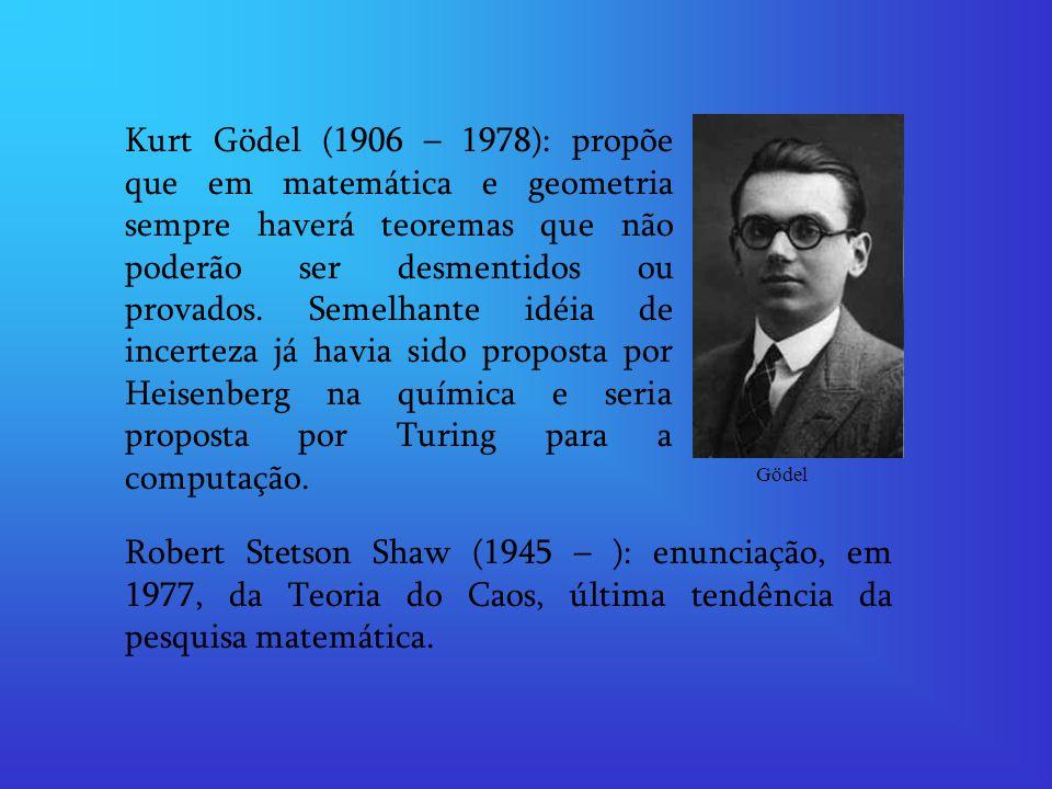 Kurt Gödel (1906 – 1978): propõe que em matemática e geometria sempre haverá teoremas que não poderão ser desmentidos ou provados.