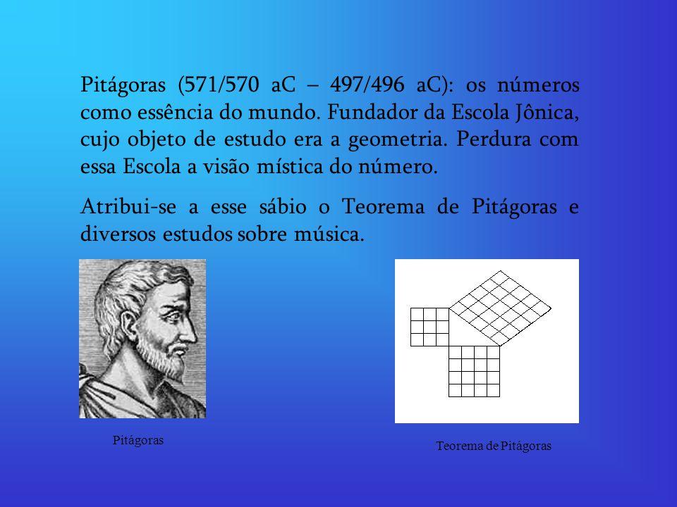 Pitágoras (571/570 aC – 497/496 aC): os números como essência do mundo. Fundador da Escola Jônica, cujo objeto de estudo era a geometria. Perdura com