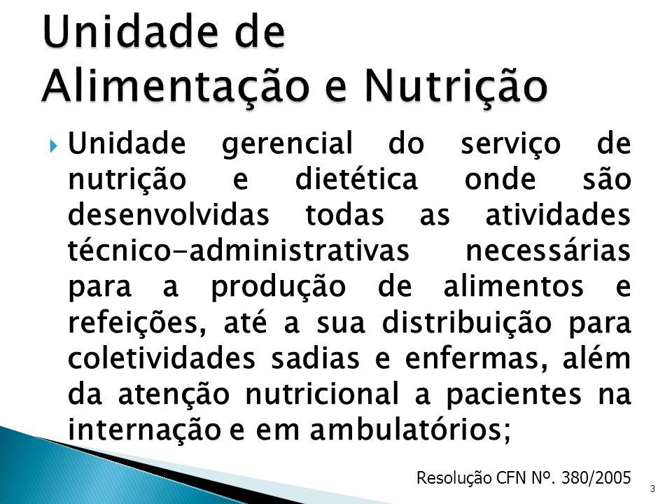 Unidade gerencial do serviço de nutrição e dietética onde são desenvolvidas todas as atividades técnico-administrativas necessárias para a produção de