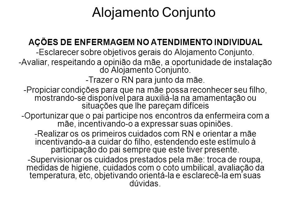 Alojamento Conjunto AÇÕES DE ENFERMAGEM NO ATENDIMENTO INDIVIDUAL -Esclarecer sobre objetivos gerais do Alojamento Conjunto. -Avaliar, respeitando a o