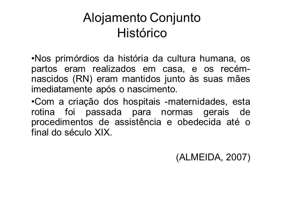 Alojamento Conjunto Histórico Nos primórdios da história da cultura humana, os partos eram realizados em casa, e os recém- nascidos (RN) eram mantidos