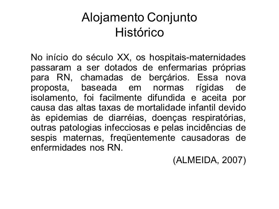 Alojamento Conjunto Histórico No início do século XX, os hospitais-maternidades passaram a ser dotados de enfermarias próprias para RN, chamadas de be