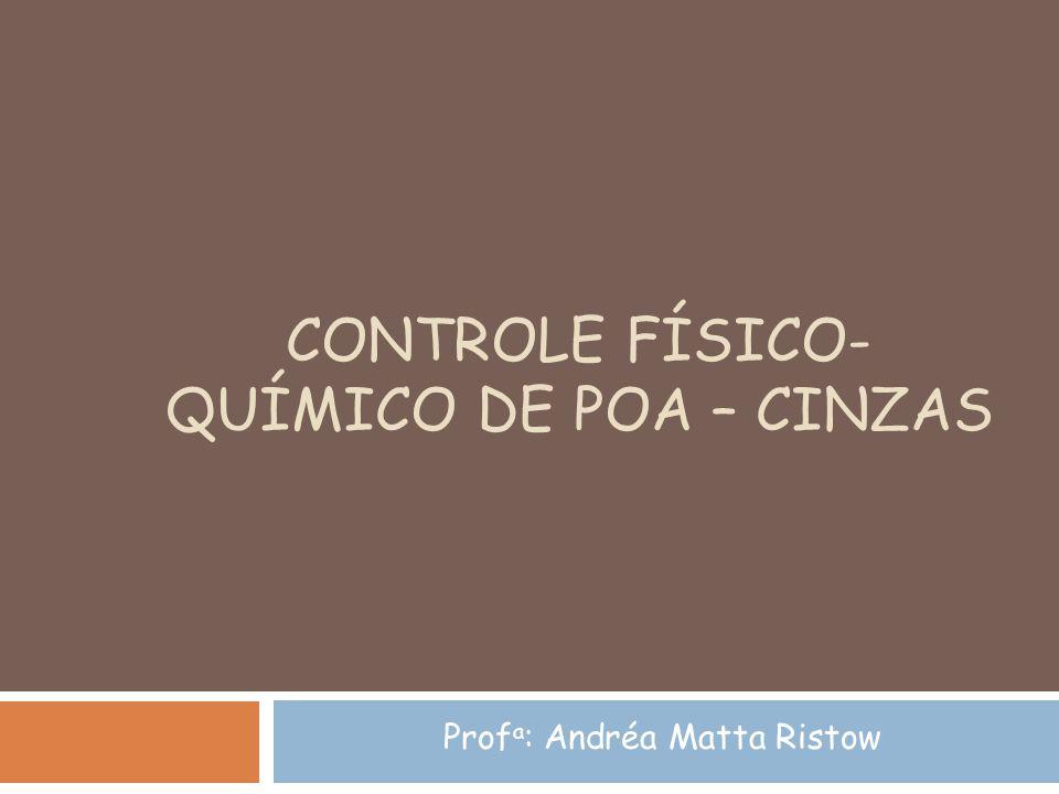 CONTROLE FÍSICO- QUÍMICO DE POA – CINZAS Prof a : Andréa Matta Ristow