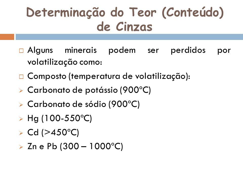 Determinação do Teor (Conteúdo) de Cinzas Alguns minerais podem ser perdidos por volatilização como: Composto (temperatura de volatilização): Carbonat