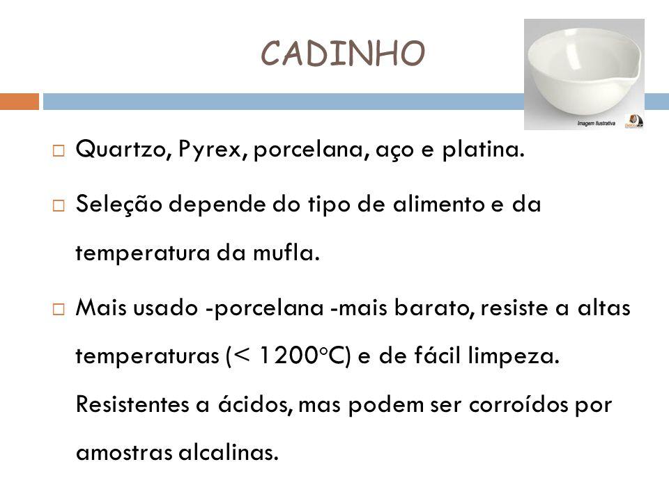 CADINHO Quartzo, Pyrex, porcelana, aço e platina. Seleção depende do tipo de alimento e da temperatura da mufla. Mais usado -porcelana -mais barato, r