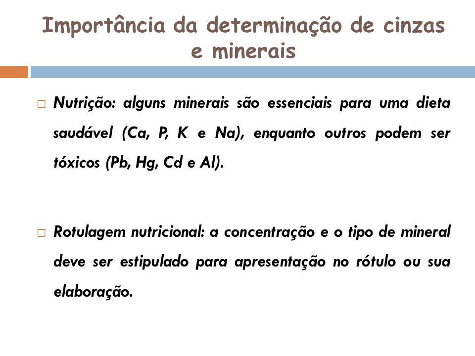 Importância da determinação de cinzas e minerais Nutrição: alguns minerais são essenciais para uma dieta saudável (Ca, P, K e Na), enquanto outros pod