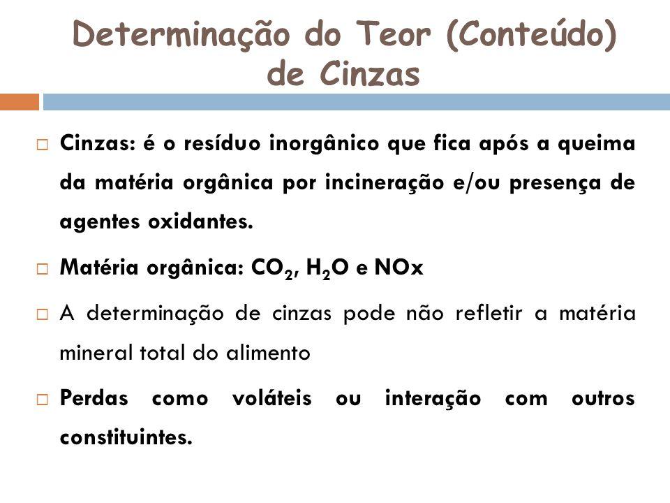 Determinação do Teor (Conteúdo) de Cinzas Cinzas: é o resíduo inorgânico que fica após a queima da matéria orgânica por incineração e/ou presença de a
