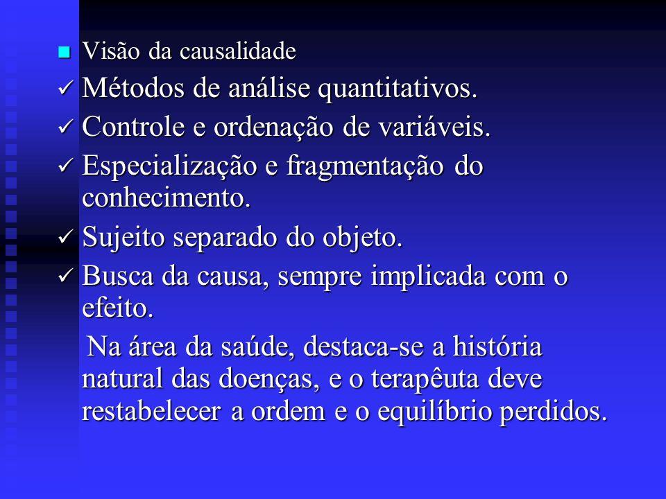 Características Gerais das Principais visões Científicas Visão da Causalidade Visão da Simultaneidade