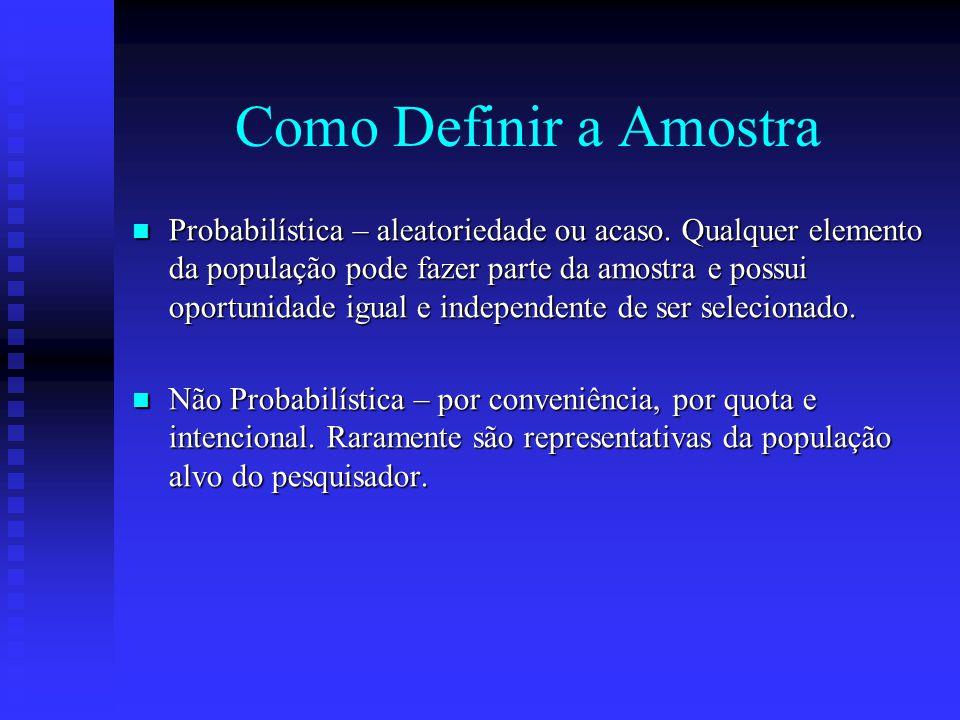 Amostra É um artifício utilizado quando o número de elementos pertencentes a um grupo de eventos é grande a ponto de tornar inviável a investigação. U