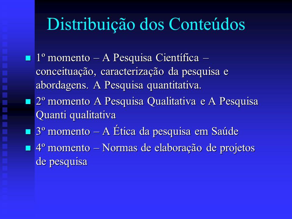 Distribuição dos Conteúdos 1º momento – A Pesquisa Científica – conceituação, caracterização da pesquisa e abordagens.