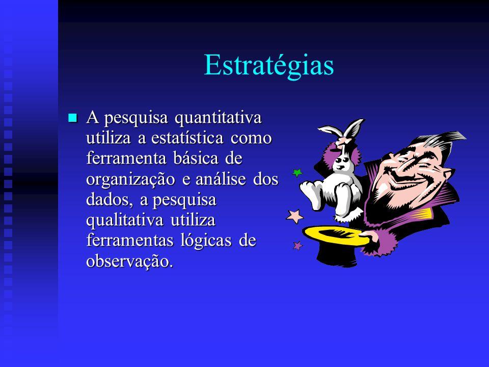 Estratégias A pesquisa quantitativa utiliza a estatística como ferramenta básica de organização e análise dos dados, a pesquisa qualitativa utiliza ferramentas lógicas de observação.