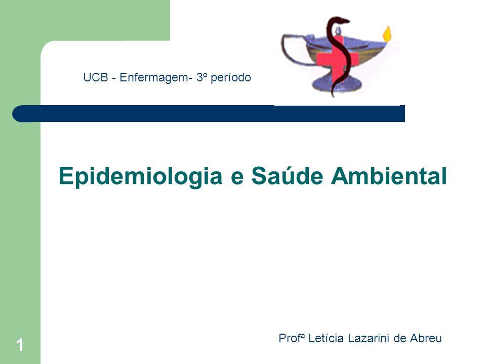1 Epidemiologia e Saúde Ambiental UCB - Enfermagem- 3º período Profª Letícia Lazarini de Abreu