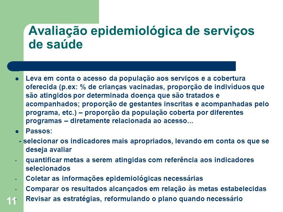 11 Avaliação epidemiológica de serviços de saúde Leva em conta o acesso da população aos serviços e a cobertura oferecida (p.ex: % de crianças vacinad