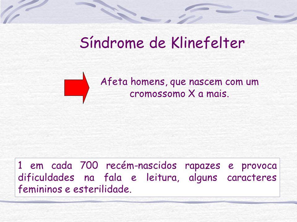 Síndrome de Klinefelter Afeta homens, que nascem com um cromossomo X a mais. 1 em cada 700 recém-nascidos rapazes e provoca dificuldades na fala e lei