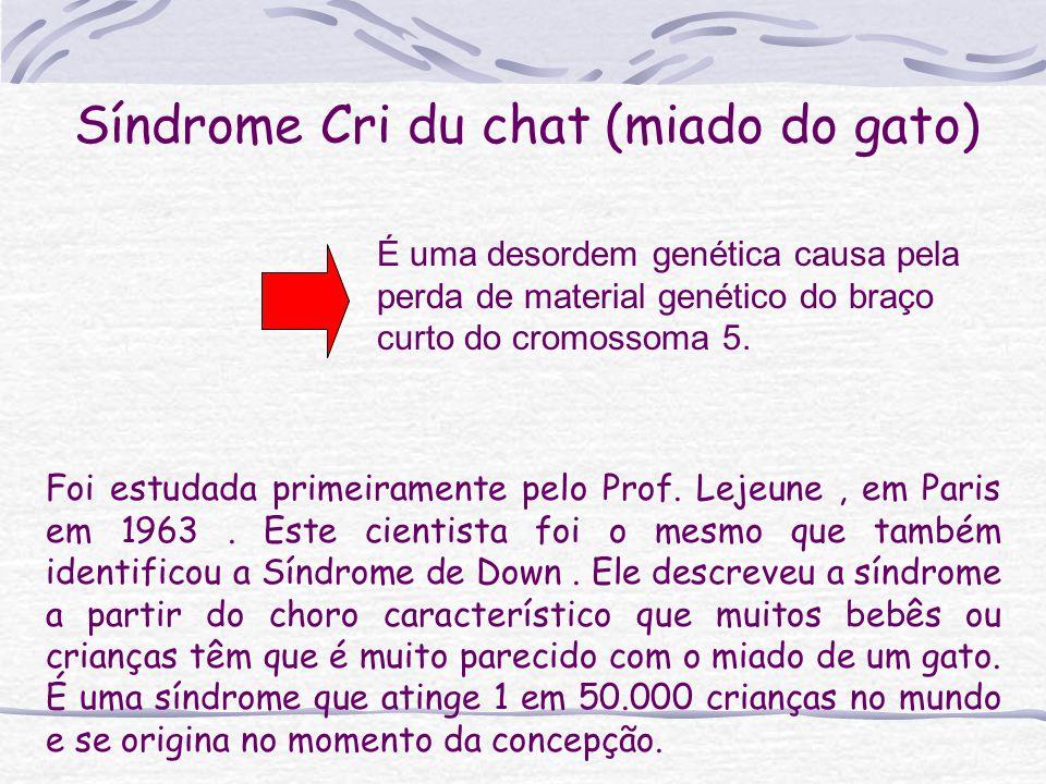 Síndrome Cri du chat (miado do gato) Foi estudada primeiramente pelo Prof. Lejeune, em Paris em 1963. Este cientista foi o mesmo que também identifico