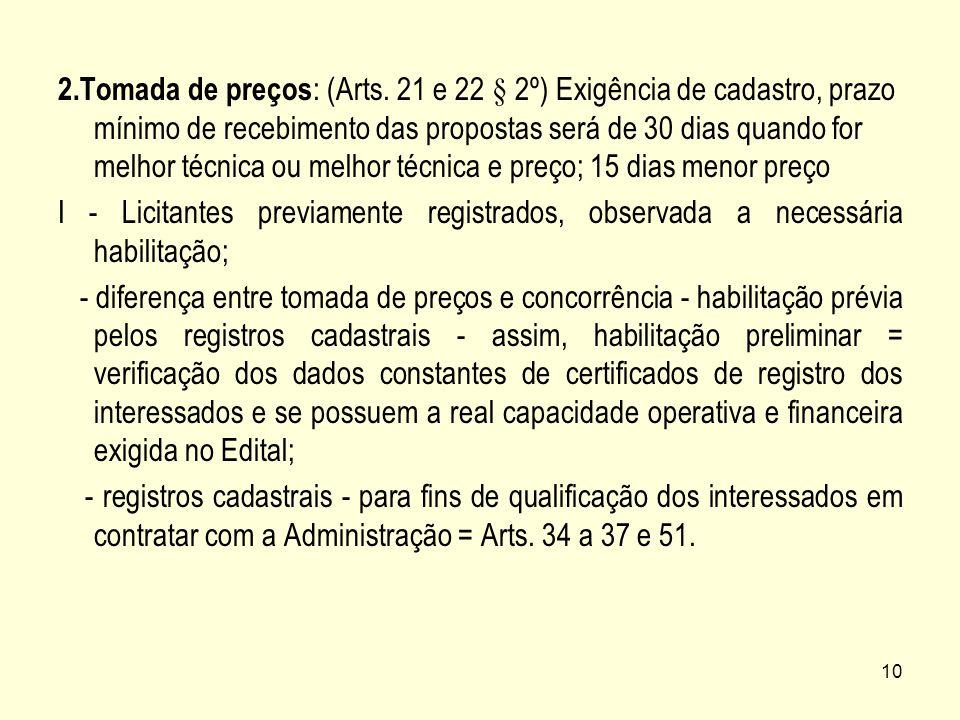 10 2.Tomada de preços : (Arts. 21 e 22 § 2º) Exigência de cadastro, prazo mínimo de recebimento das propostas será de 30 dias quando for melhor técnic