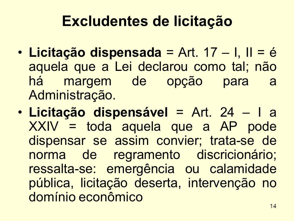 14 Excludentes de licitação Licitação dispensada = Art. 17 – I, II = é aquela que a Lei declarou como tal; não há margem de opção para a Administração