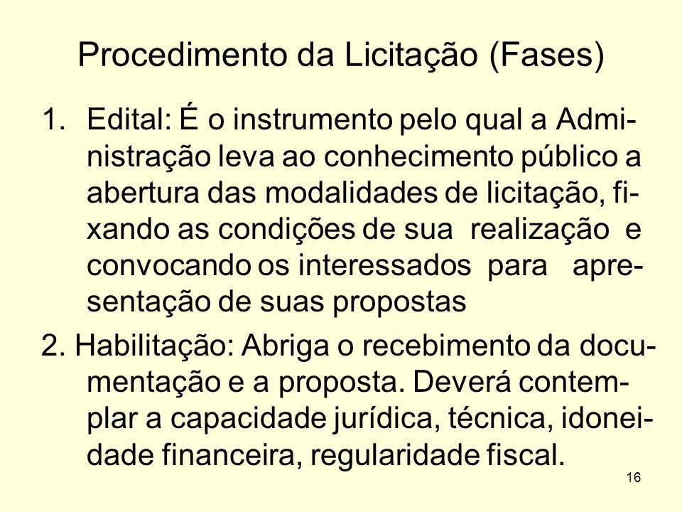 16 Procedimento da Licitação (Fases) 1.Edital: É o instrumento pelo qual a Admi- nistração leva ao conhecimento público a abertura das modalidades de