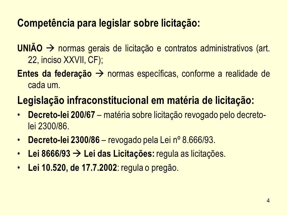 4 Competência para legislar sobre licitação: UNIÃO normas gerais de licitação e contratos administrativos (art. 22, inciso XXVII, CF); Entes da federa