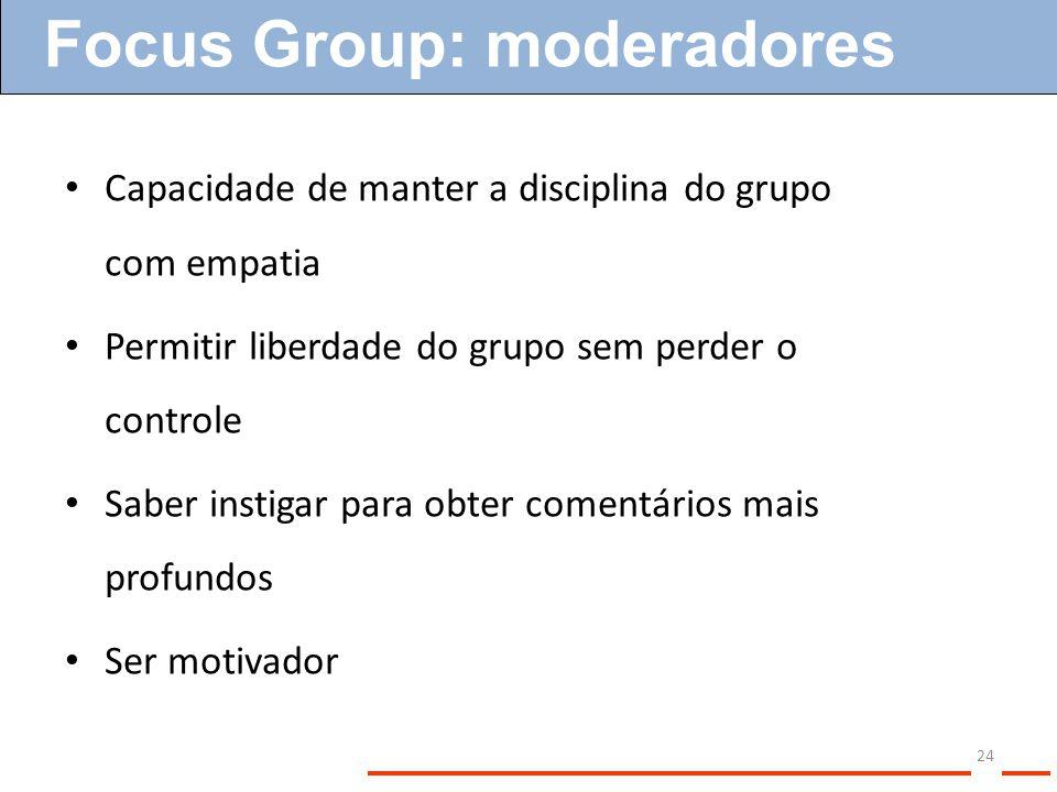 24 Capacidade de manter a disciplina do grupo com empatia Permitir liberdade do grupo sem perder o controle Saber instigar para obter comentários mais