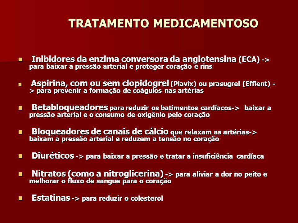 TRATAMENTO MEDICAMENTOSO TRATAMENTO MEDICAMENTOSO Inibidores da enzima conversora da angiotensina (ECA) -> para baixar a pressão arterial e proteger c