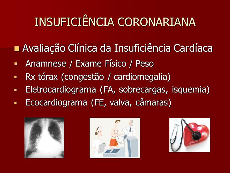 INSUFICIÊNCIA CORONARIANA Avaliação Clínica da Insuficiência Cardíaca Avaliação Clínica da Insuficiência Cardíaca Anamnese / Exame Físico / Peso Anamn