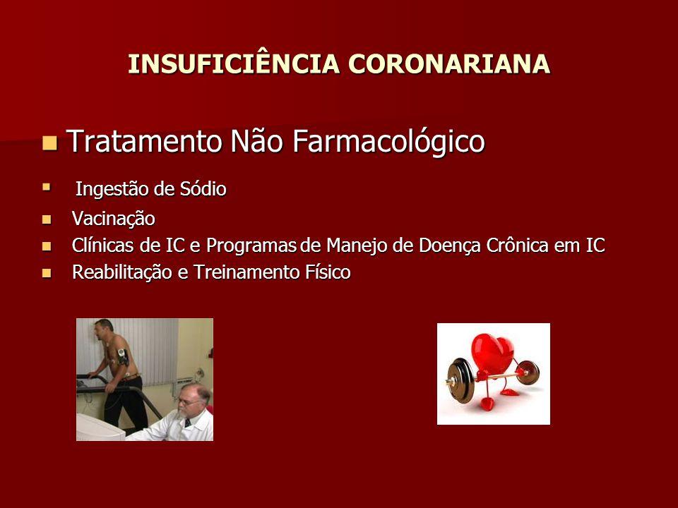Tratamento Não Farmacológico Tratamento Não Farmacológico Ingestão de Sódio Ingestão de Sódio Vacinação Vacinação Clínicas de IC e Programas de Manejo