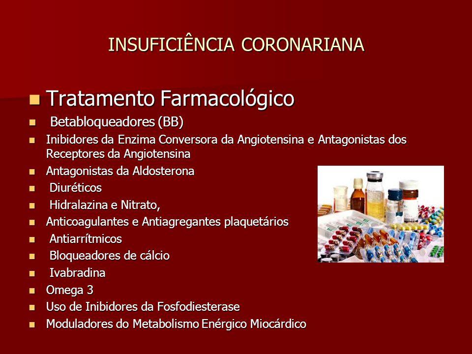 INSUFICIÊNCIA CORONARIANA Tratamento Farmacológico Tratamento Farmacológico Betabloqueadores (BB) Betabloqueadores (BB) Inibidores da Enzima Conversor