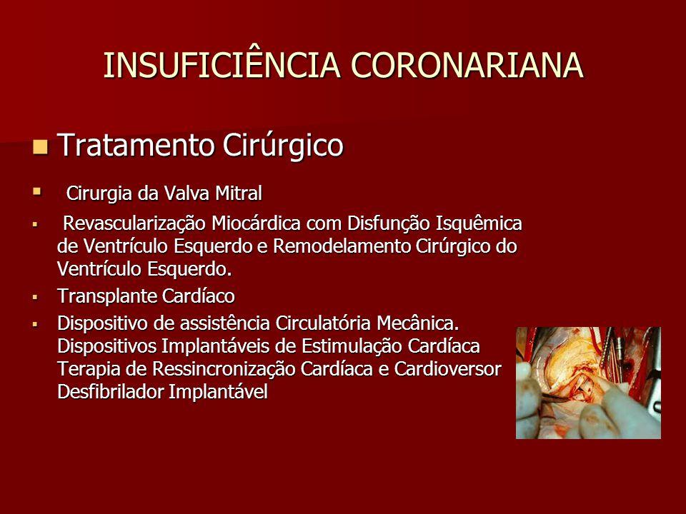 INSUFICIÊNCIA CORONARIANA Tratamento Cirúrgico Tratamento Cirúrgico Cirurgia da Valva Mitral Cirurgia da Valva Mitral Revascularização Miocárdica com