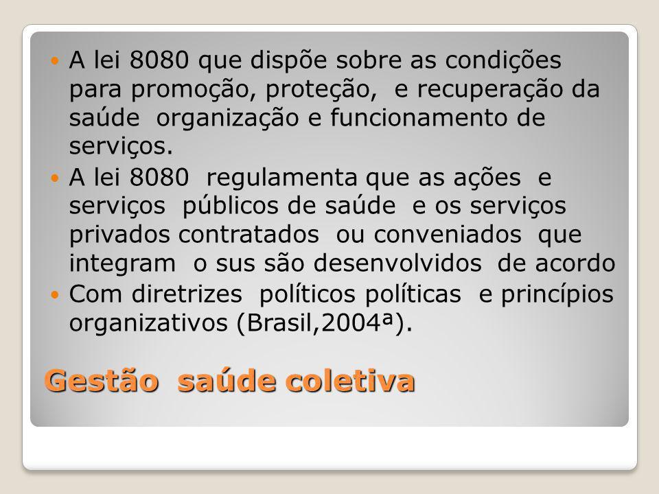 Gestão saúde coletiva A lei 8080 que dispõe sobre as condições para promoção, proteção, e recuperação da saúde organização e funcionamento de serviços