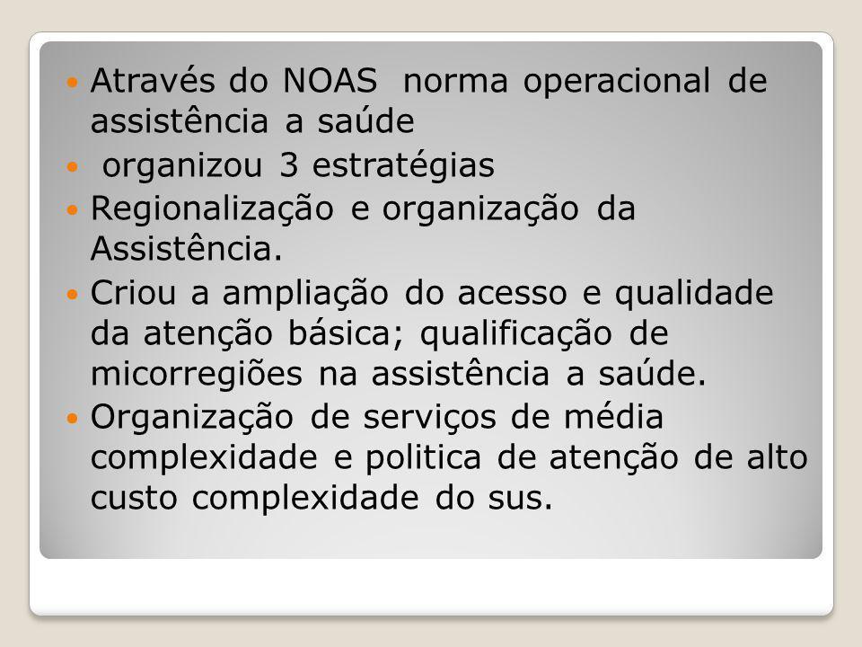 Através do NOAS norma operacional de assistência a saúde organizou 3 estratégias Regionalização e organização da Assistência. Criou a ampliação do ace