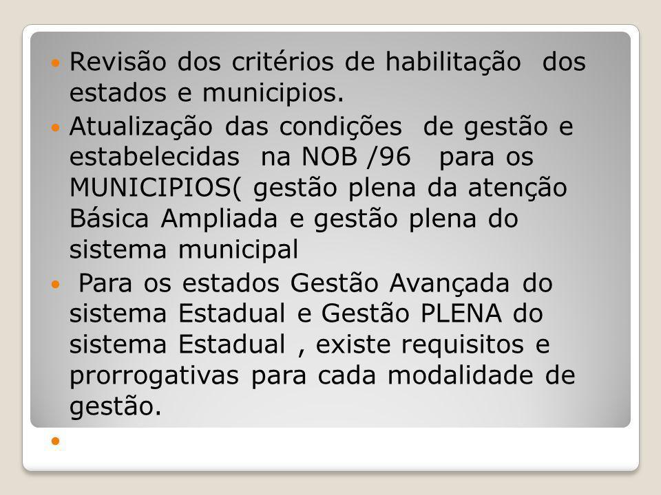 Revisão dos critérios de habilitação dos estados e municipios. Atualização das condições de gestão e estabelecidas na NOB /96 para os MUNICIPIOS( gest