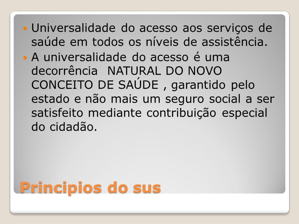 Principios do sus Universalidade do acesso aos serviços de saúde em todos os níveis de assistência. A universalidade do acesso é uma decorrência NATUR
