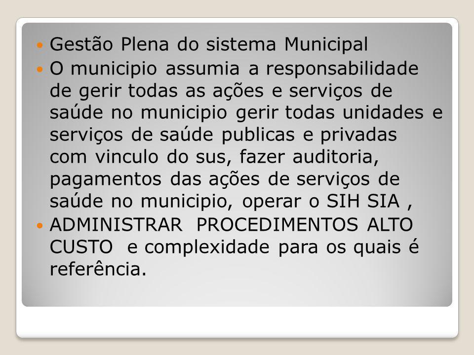 Gestão Plena do sistema Municipal O municipio assumia a responsabilidade de gerir todas as ações e serviços de saúde no municipio gerir todas unidades