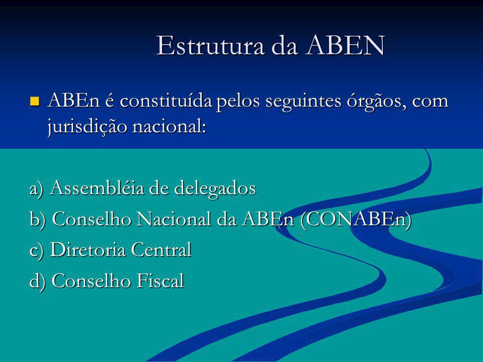 Estrutura da ABEN Estrutura da ABEN ABEn é constituída pelos seguintes órgãos, com jurisdição nacional: ABEn é constituída pelos seguintes órgãos, com