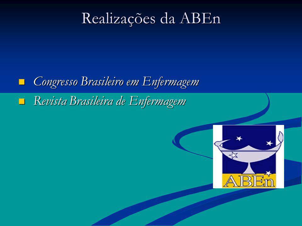 Realizações da ABEn Congresso Brasileiro em Enfermagem Congresso Brasileiro em Enfermagem Revista Brasileira de Enfermagem Revista Brasileira de Enfer
