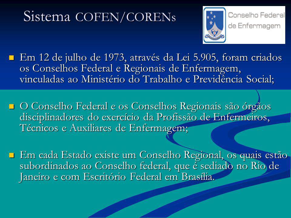 Sistema COFEN/CORENs Sistema COFEN/CORENs Em 12 de julho de 1973, através da Lei 5.905, foram criados os Conselhos Federal e Regionais de Enfermagem,