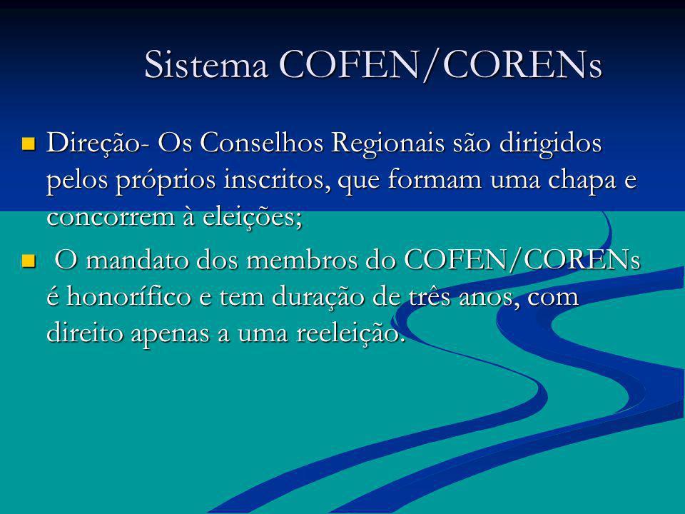 Sistema COFEN/CORENs Sistema COFEN/CORENs Direção- Os Conselhos Regionais são dirigidos pelos próprios inscritos, que formam uma chapa e concorrem à e